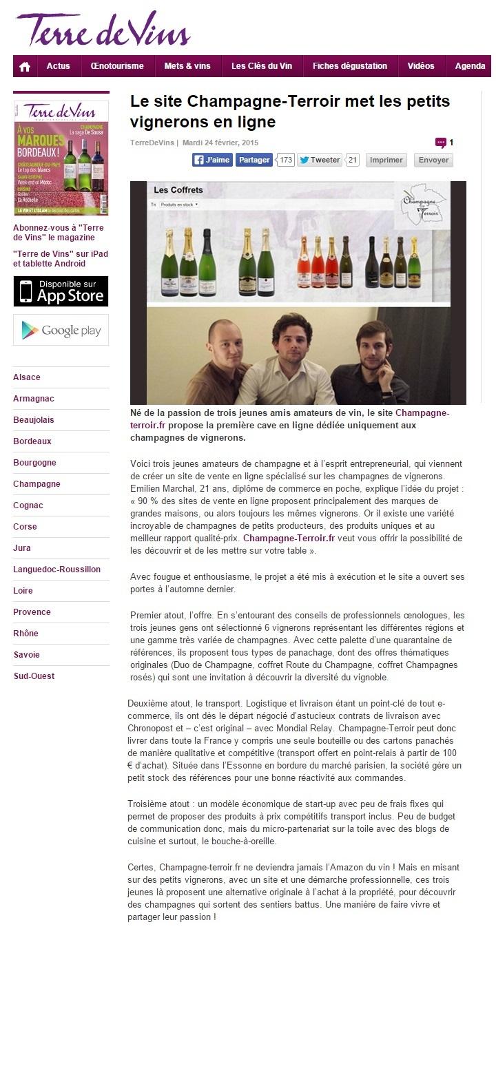 Terre de Vin : Achat Champagnes en ligne